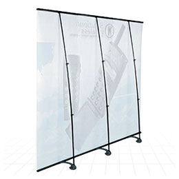 Low cost linkable banner stand