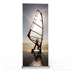 Modern height adjustable banner stand