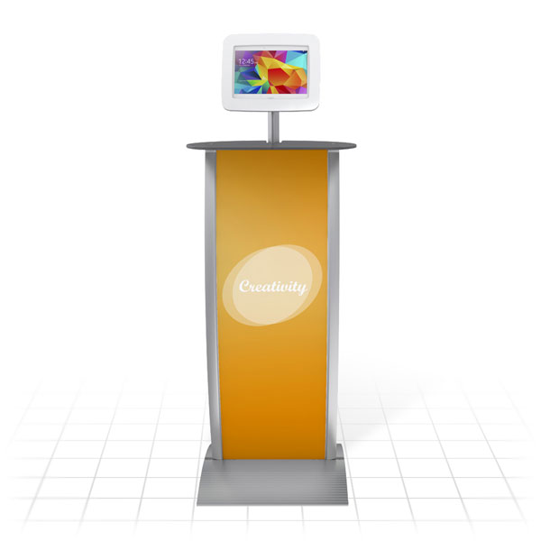 Kiosk Plus Tablet Display Stand (Curved - Shelf - Front)