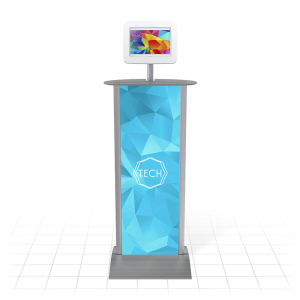 Kiosk Plus Tablet Display Stand (Straight - Shelf - Front)