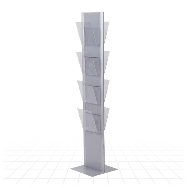 Totem Literature Stand [Clear Shelves - Silver]